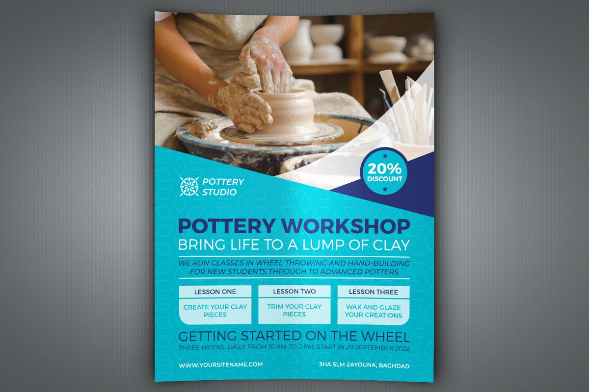 Pottery Workshop Flyer Template example image 1