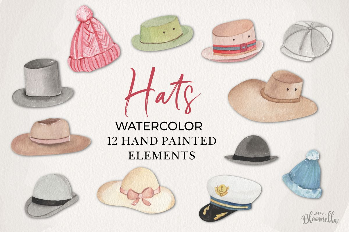 Hats Watercolor Elements example image 1