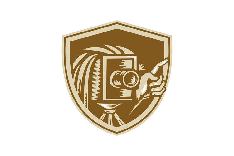 Vintage Camera Hand Pointing Shield Retro example image 1