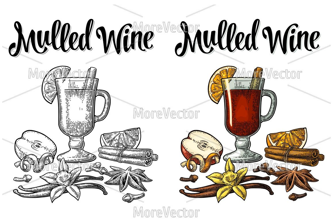 Grog with glass and ingredients. Mulled wine calligraphic lettering. example image 1