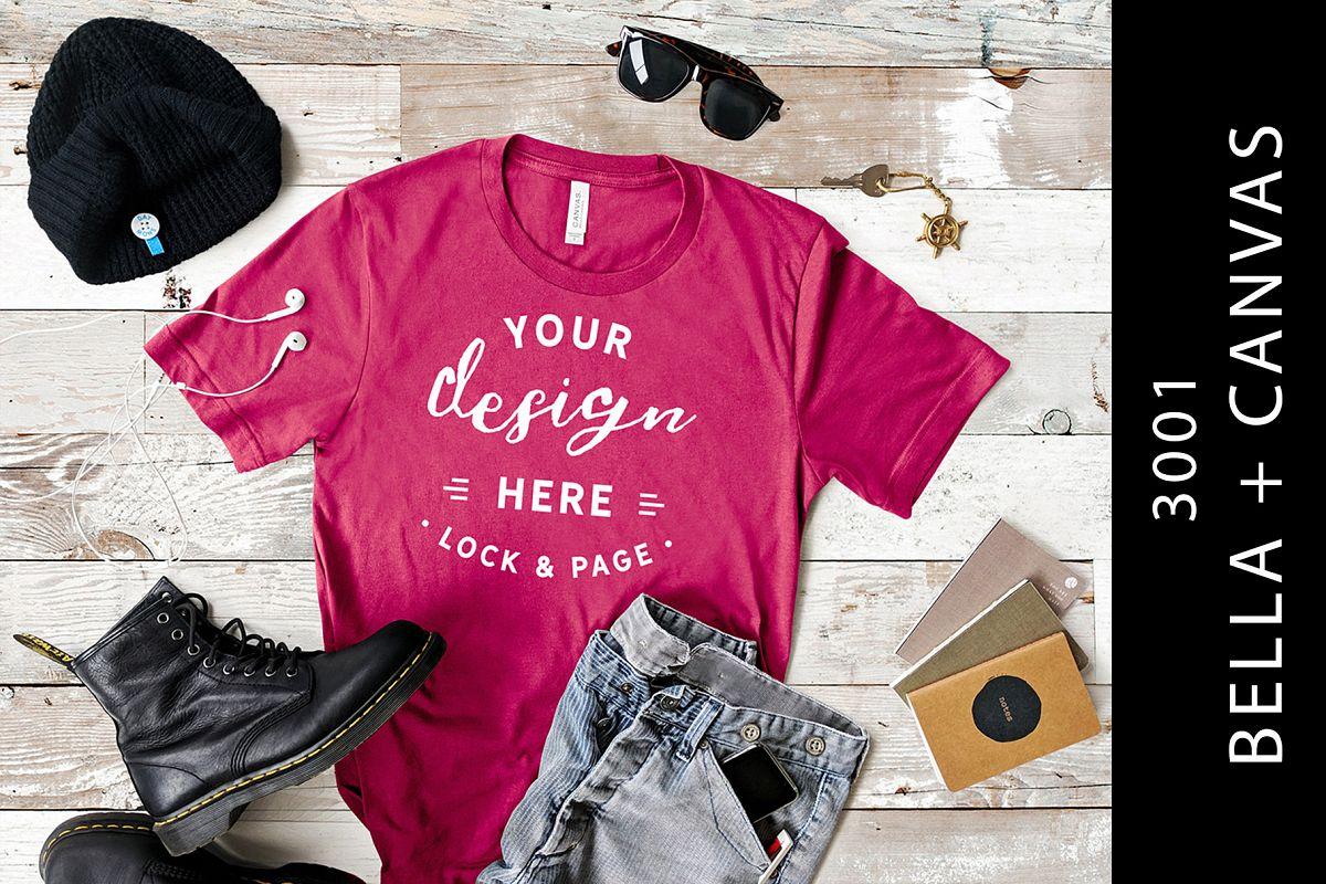 5f4cd165 Men's Berry Bella Canvas 3001 T-Shirt Mockup Apparel Flatlay example image 1
