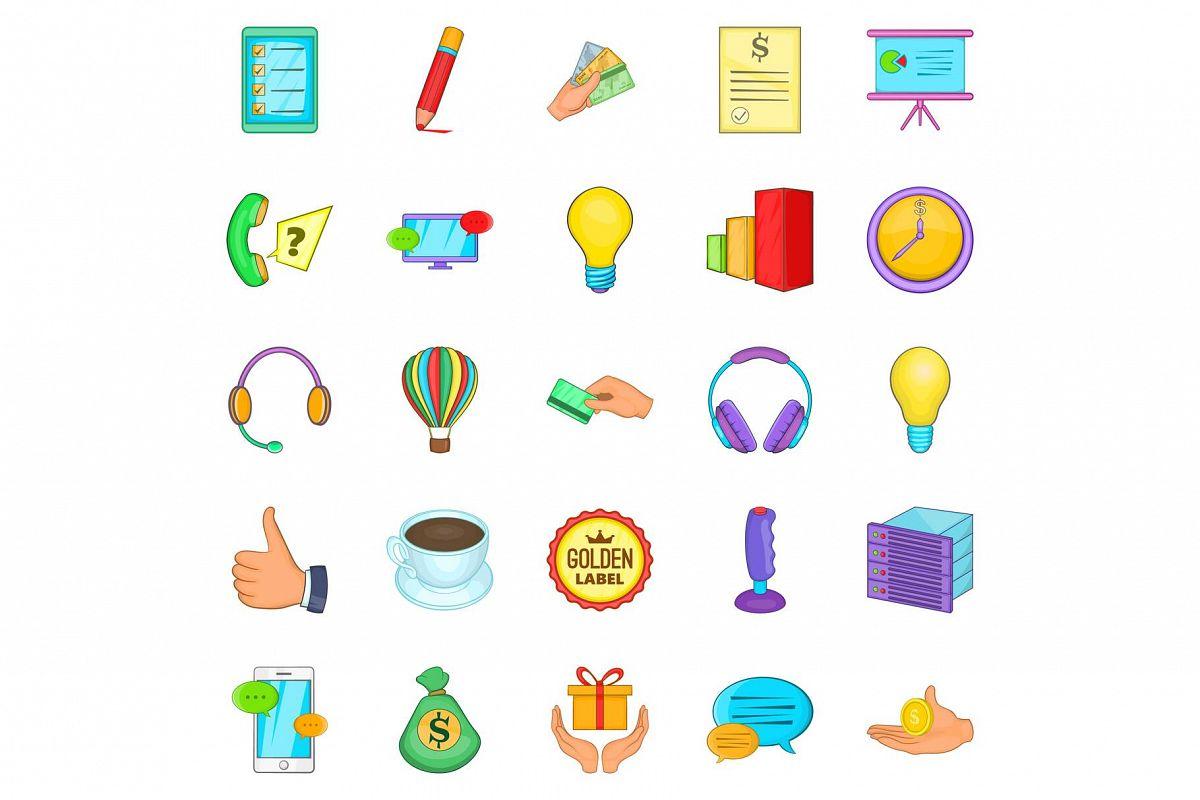 Customer icons set, cartoon style example image 1