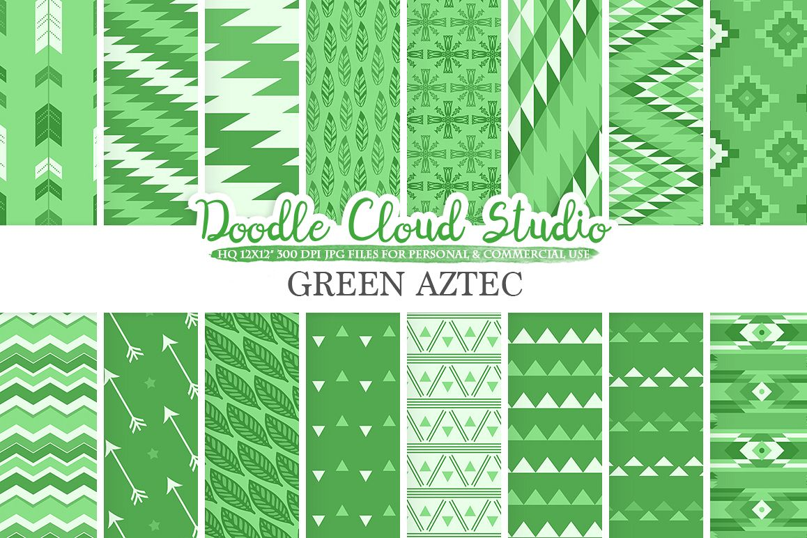 Dark Green Aztec digital paper Tribal pattern native triangles geometric ethnic arrows background Instant Download Personal & Commercial Use example image 1