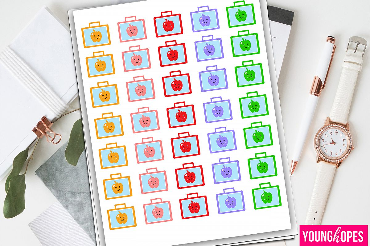 School Lunch Box Planner Stickers-School Bag Planner Sticker example image 1