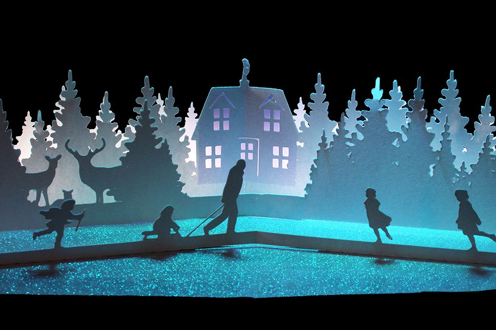 winter cottage pop up card example image 1
