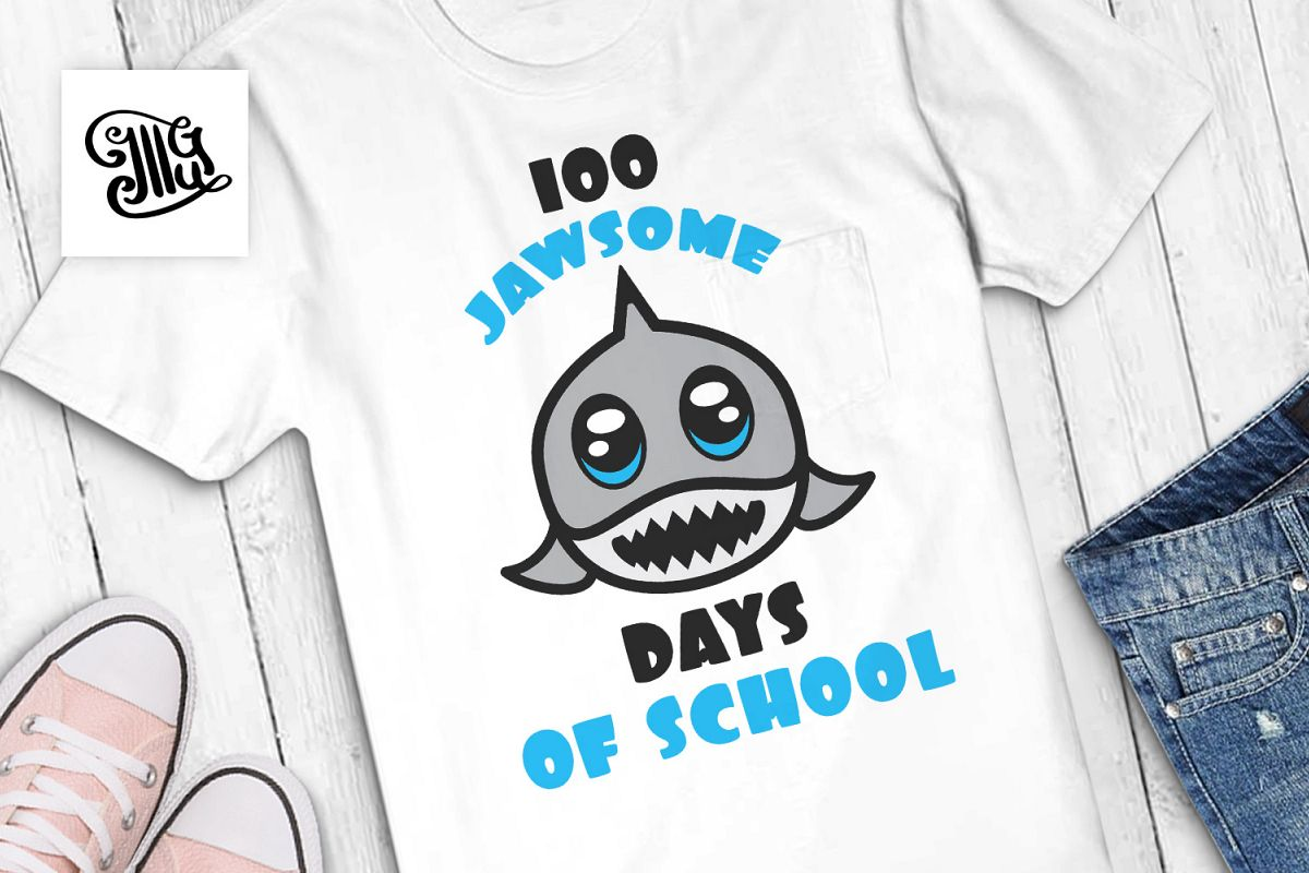100 days of school for boys svg with shark example image 1