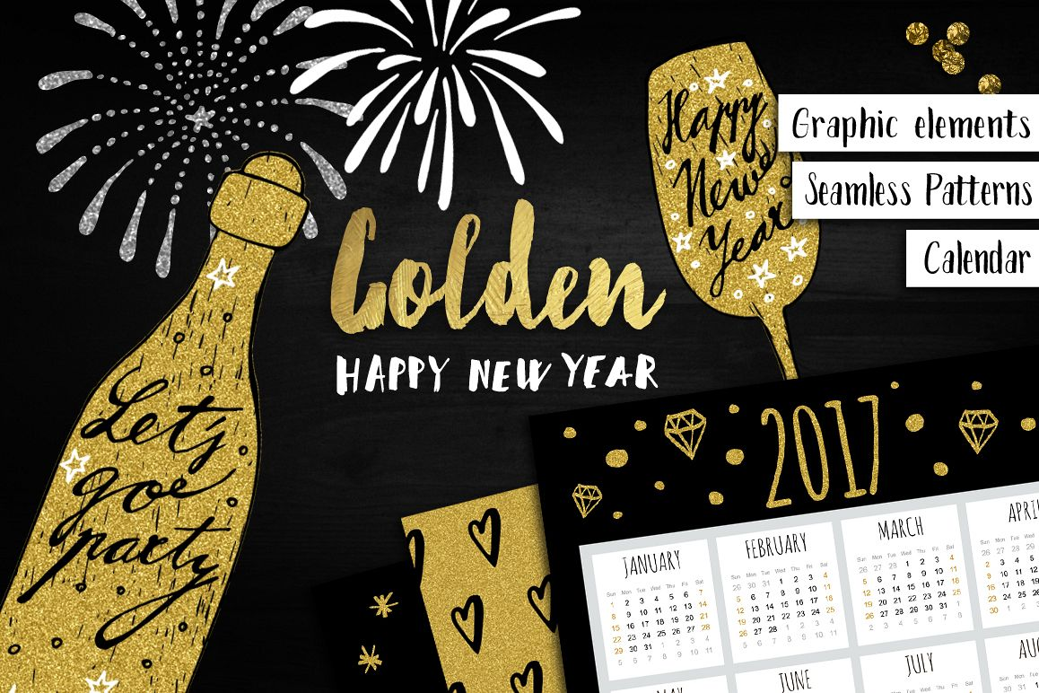 Golden Happy New Year set example image 1