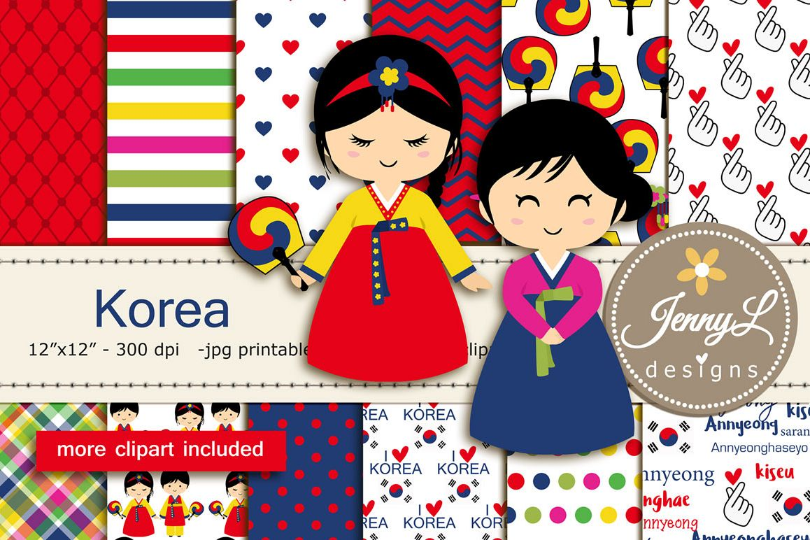 Korea Digital Papers and Korean Clipart example image 1