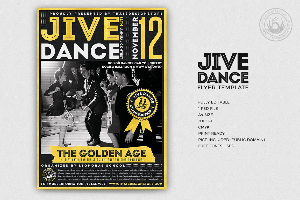 jive dance flyer template