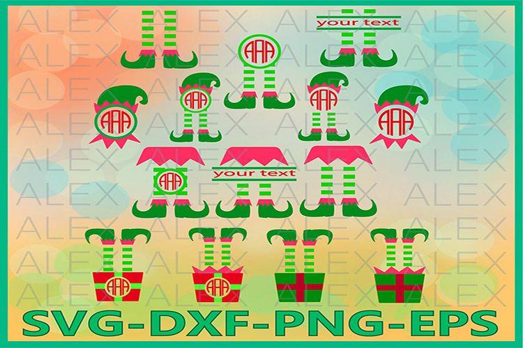 Elf Monogram SVG, Christmas Monogram Frame, Elf png example image 1