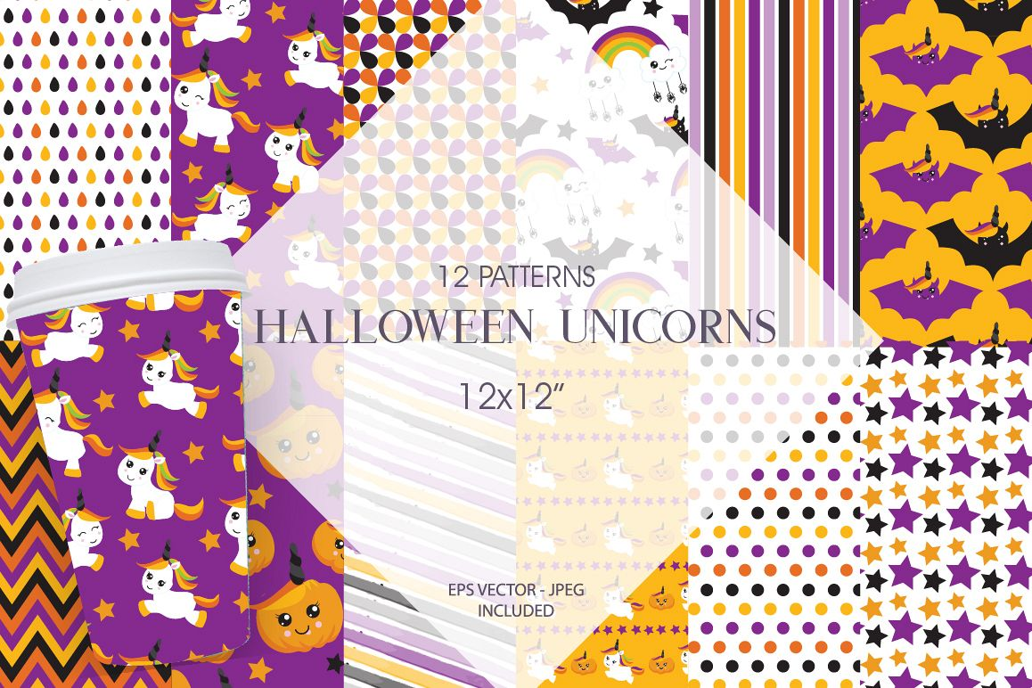 Halloween Unicorns Pattern collection, vector ai, eps example image 1