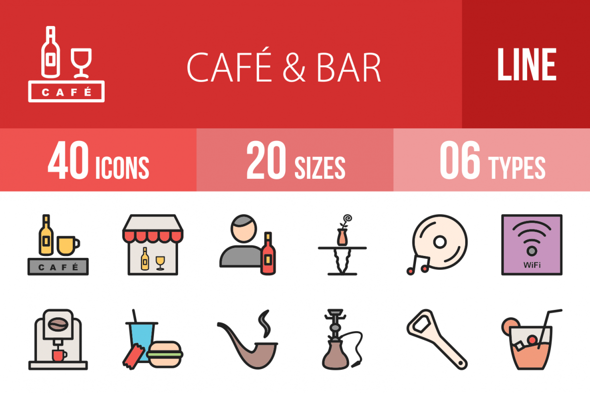 40 Cafe & Bar Linear Multicolor Icons example image 1