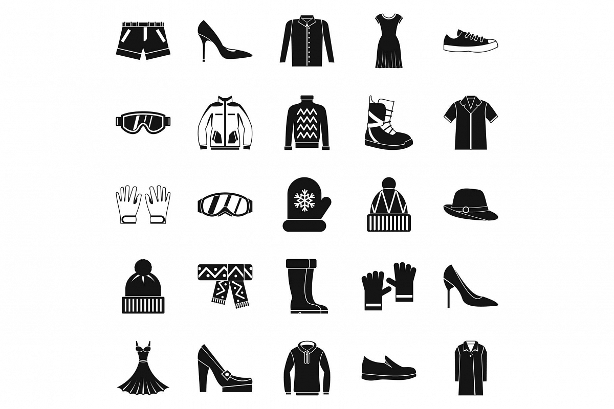 Clothing sale icons set, simple style example image 1
