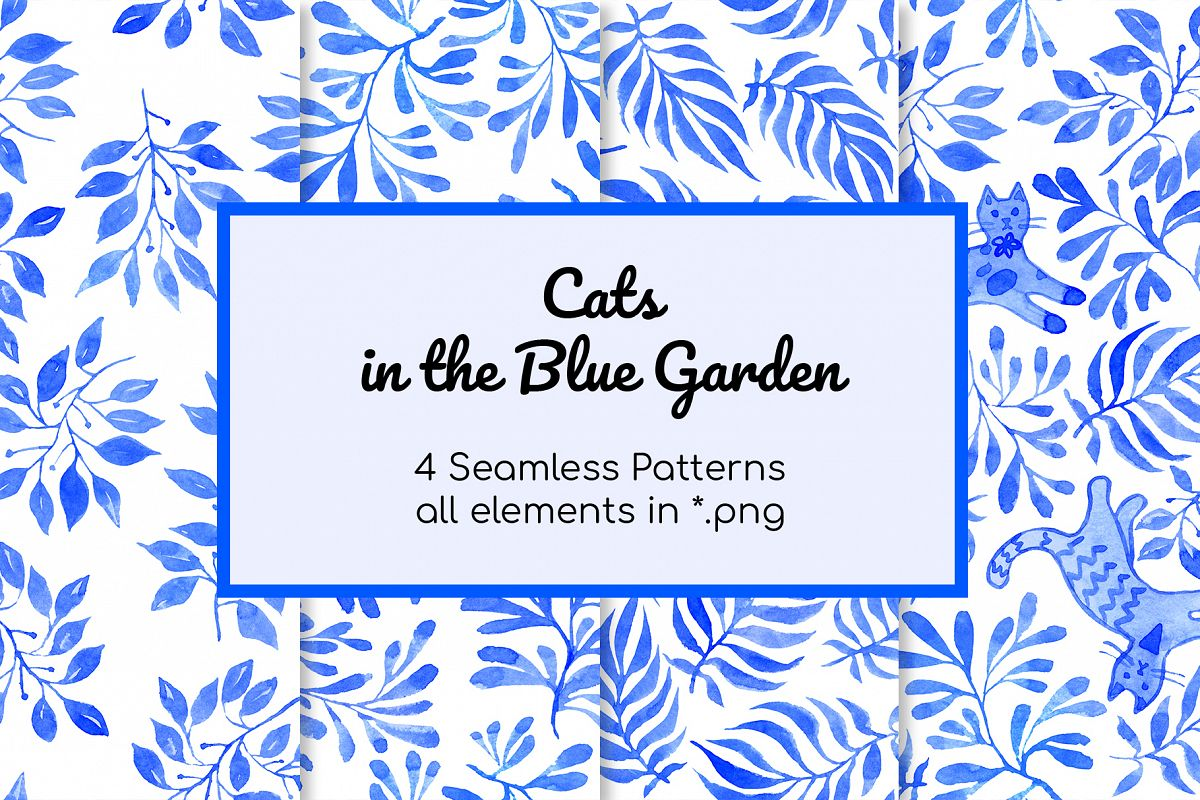 Cats in Blue Garden Patterns and elements watercolor set example image 1