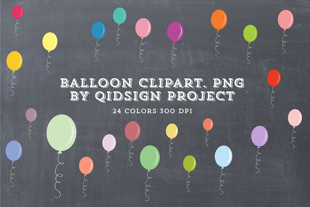 24 Color Balloon Clipart example image 1