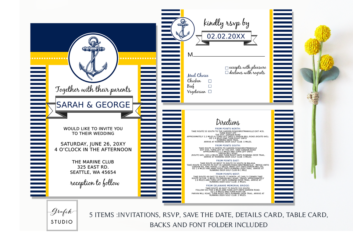 Anchor Navy And Yellow Nautical Wedding Invitation Template