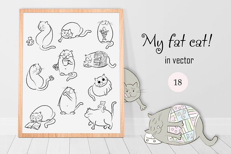 My fat cat in vector! example image 1