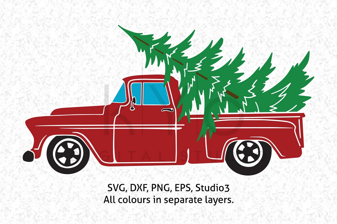 Christmas Truck with Tree SVG DXF PNG EPS vector files, Christmas ...