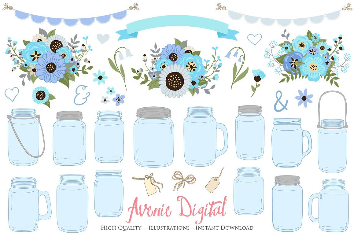 Blue And Gray Floral Mason Jar Wedding Clipart Example Image