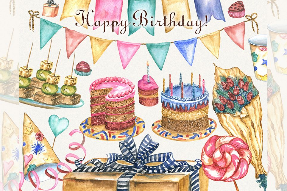 Birthday clipart, watercolor, happy birthday clipart example image 1