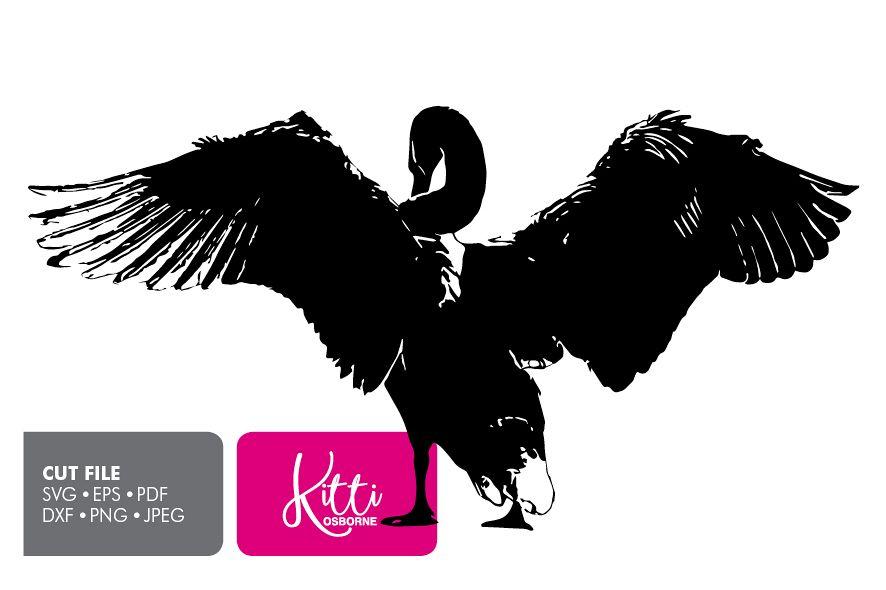 Swan Bird Paper cut Template SVG example image 1