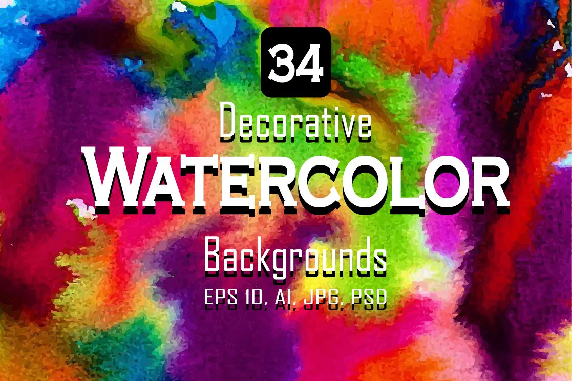 34 Watercolor vector set background. example image 1