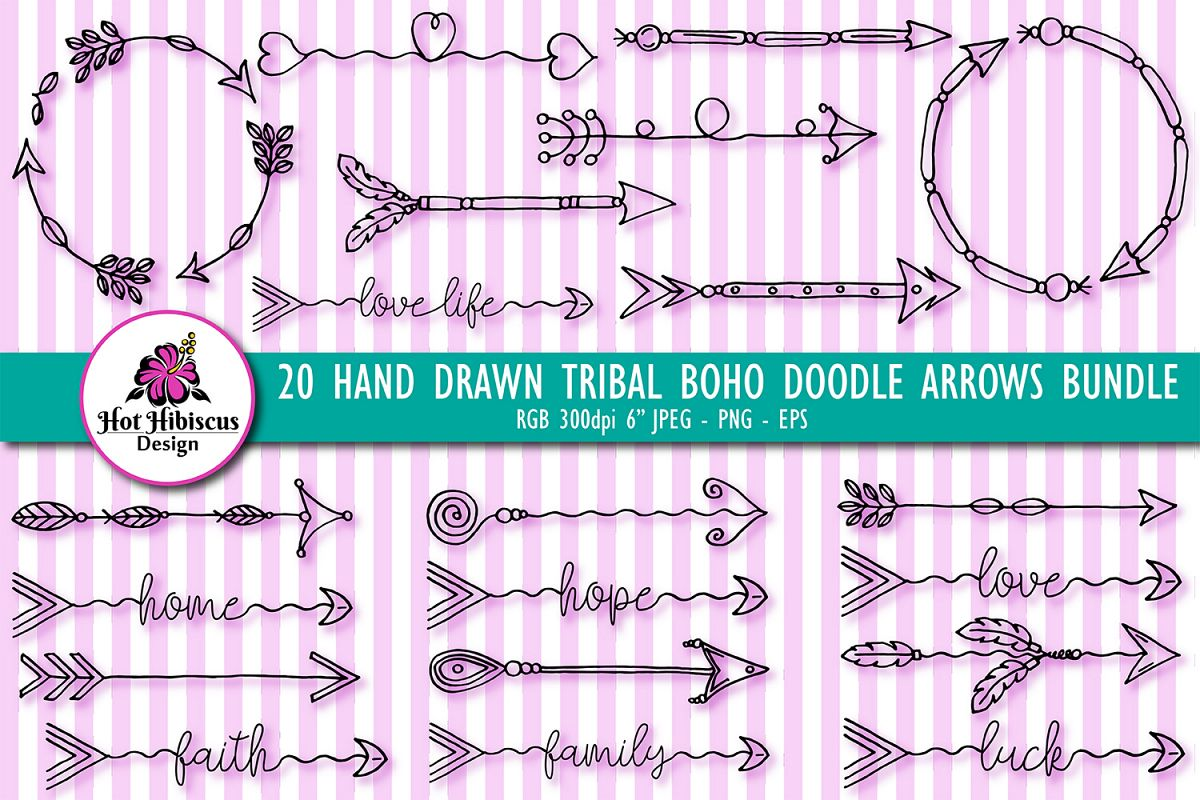 Hand Drawn Tribal Boho Doodle Arrows Clipart Bundle example image 1