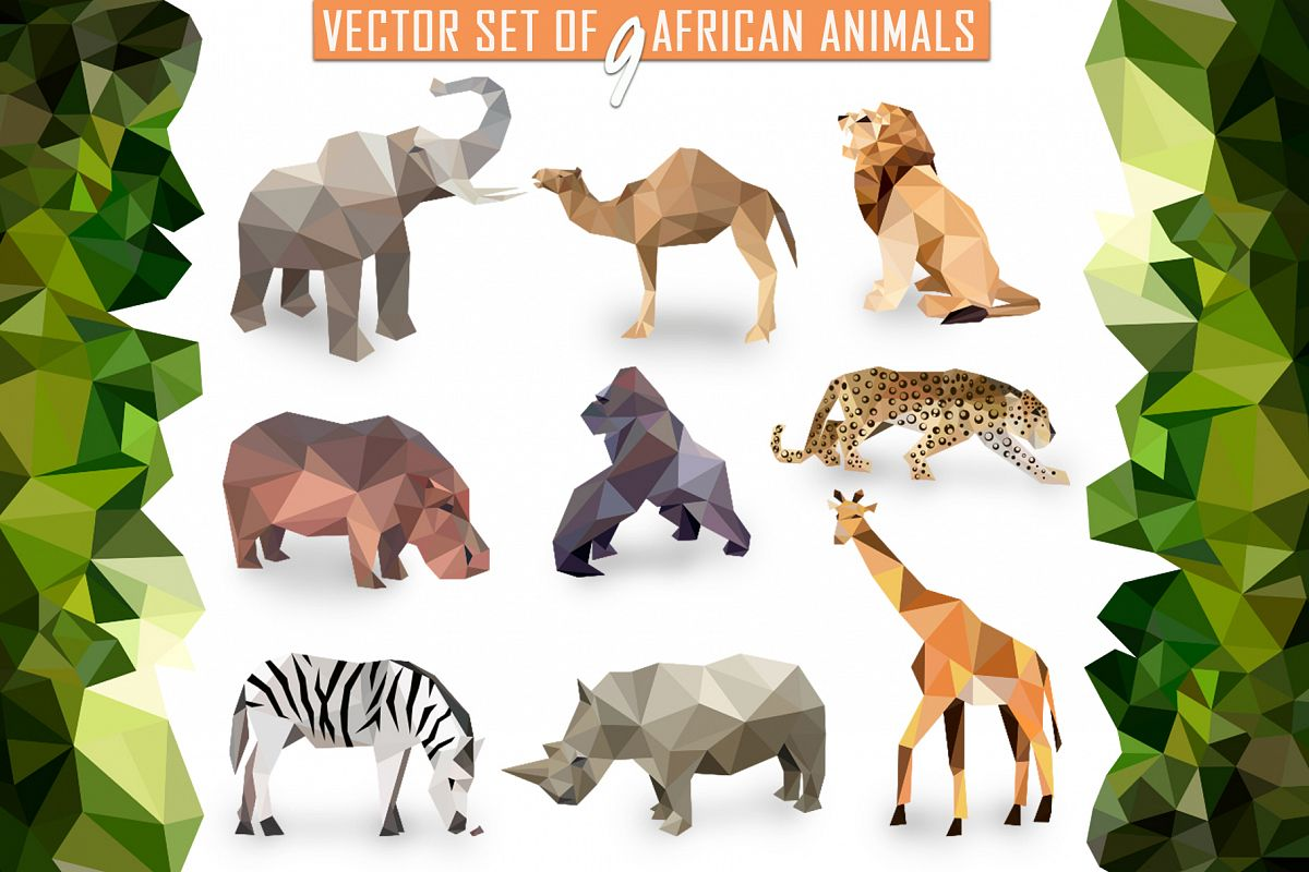 Vector set of African animals example image 1
