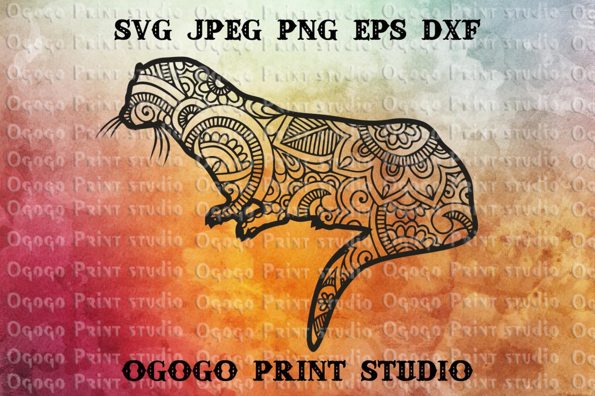 Sea Otter SVG, Zentangle SVG, Sea animal SVG, Mandala svg example image 1