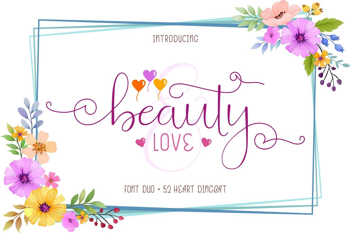 Beauty and Love - Font Duo and Extra Heart Dingbat example image 1