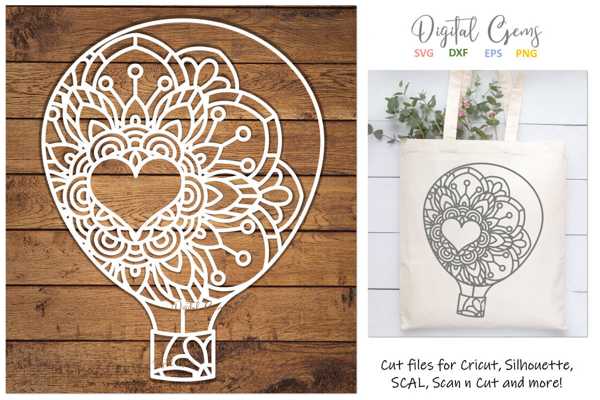 Hot air balloon paper cut design SVG / DXF / EPS / PNG files example image 1