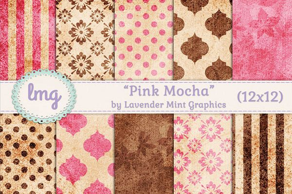 Pink and Brown Digital Scrapbook Paper example image 1