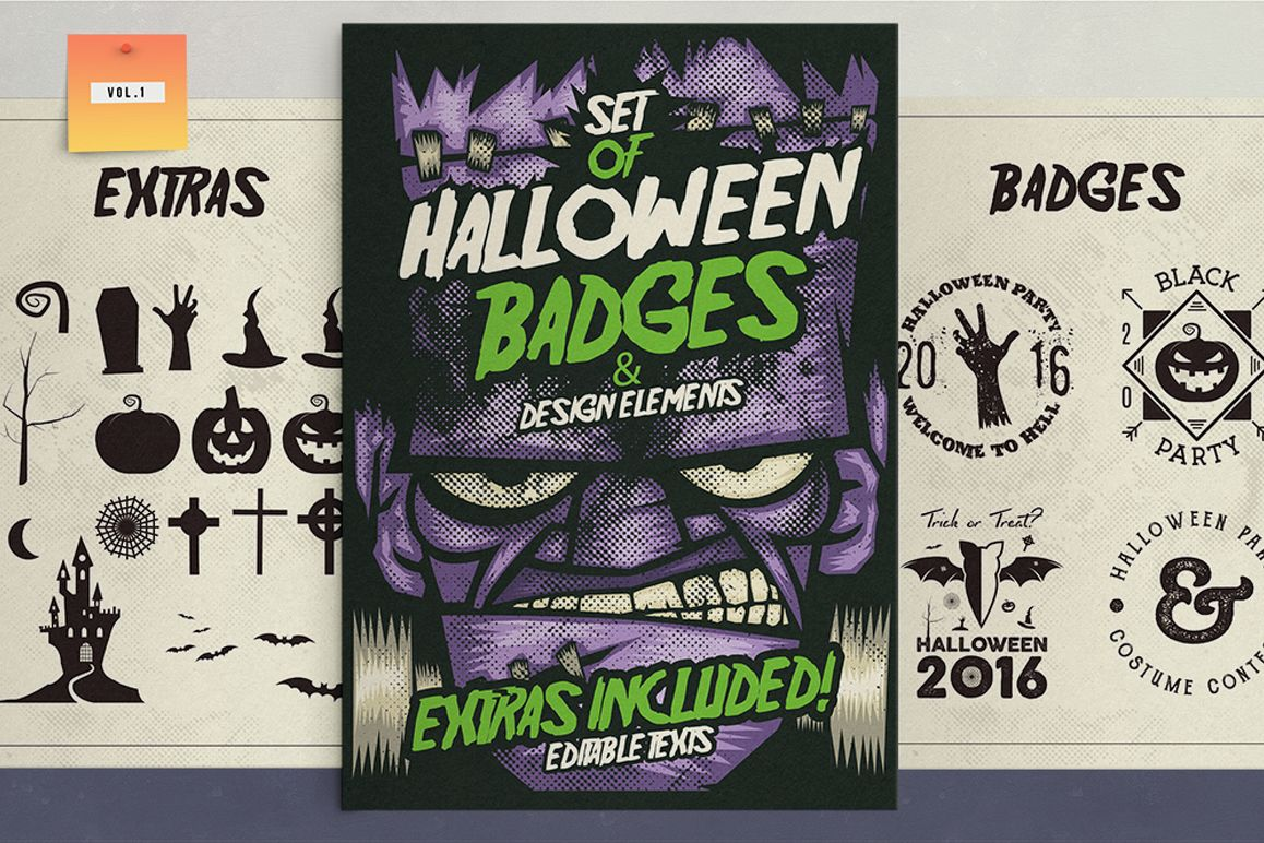 Halloween Badges & Extras Vol.1 example image 1