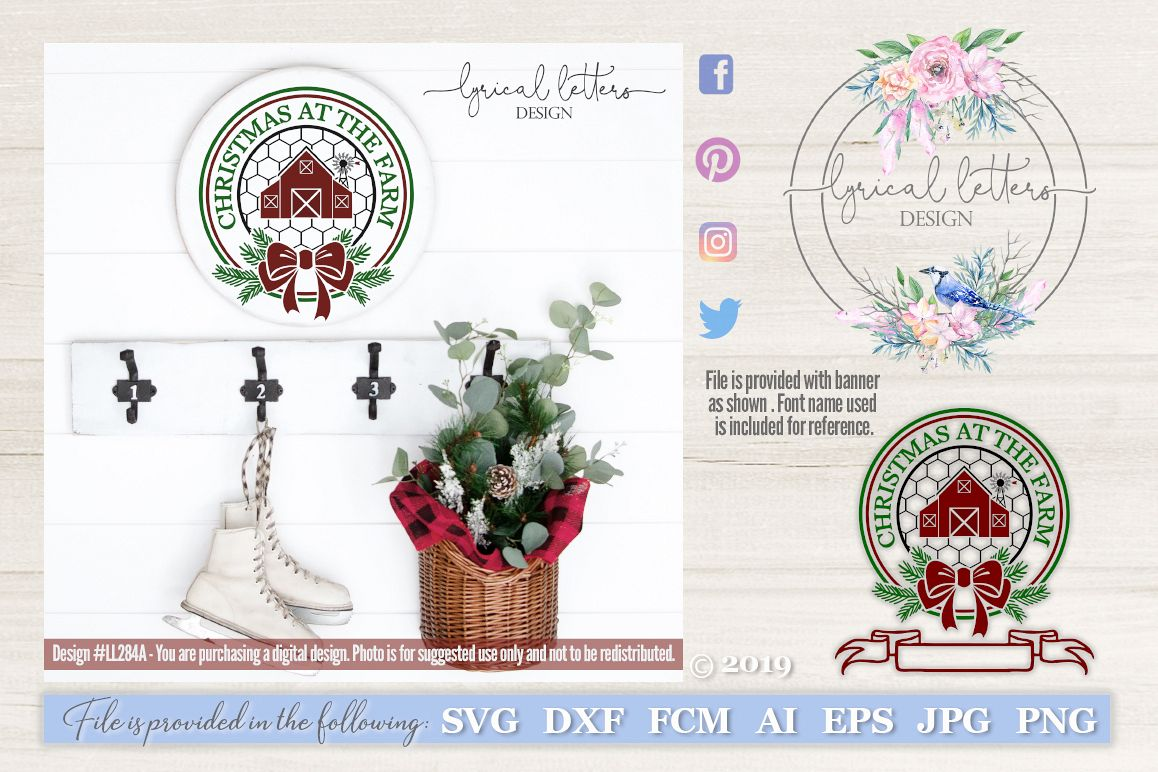 NEW! Christmas At The Farm with Barn SVG LL284A example image 1