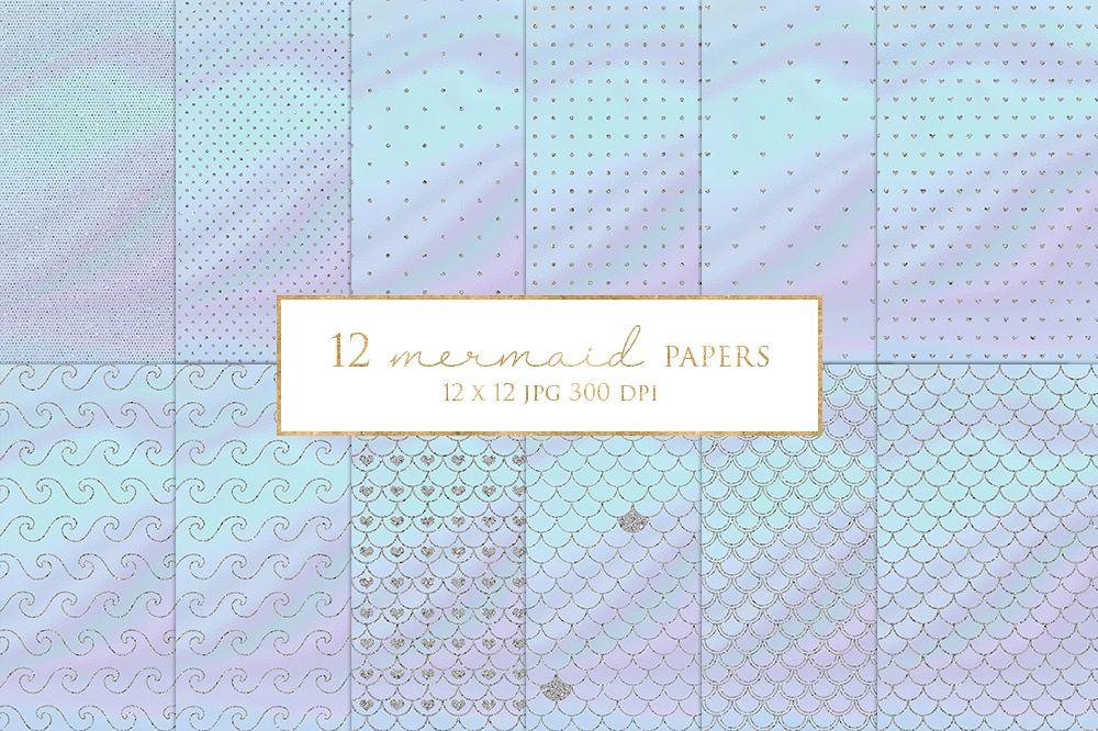 12 Silver Glitter Mermaid Digital Paper Pack example image 1