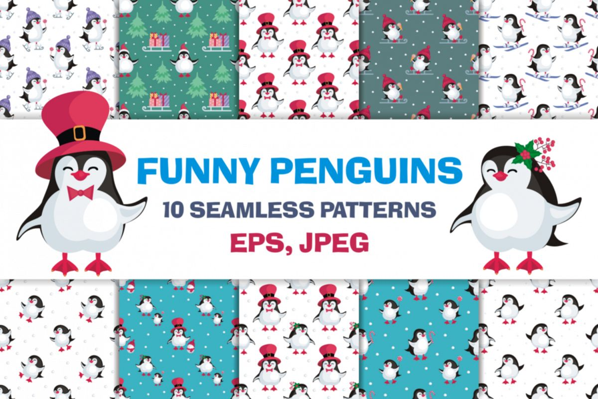 Funny penguins. Christmas seamless patterns example image 1