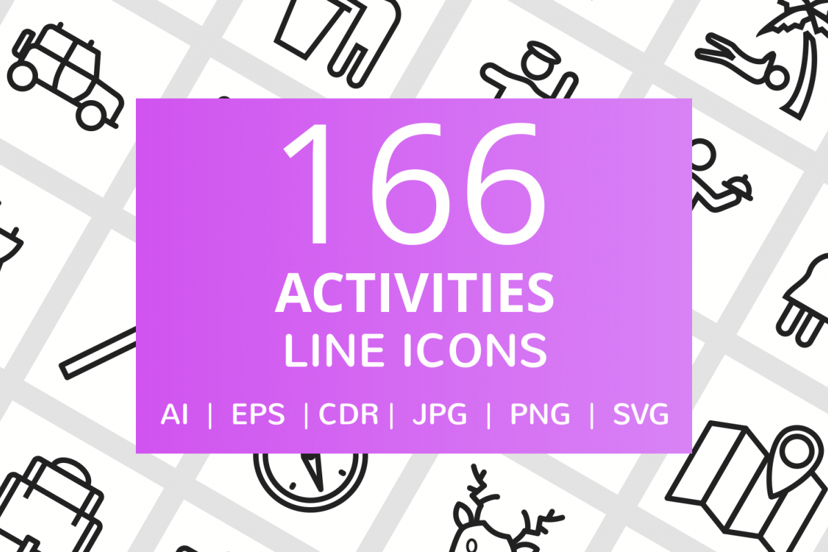 166 Activities Line Icons example image 1