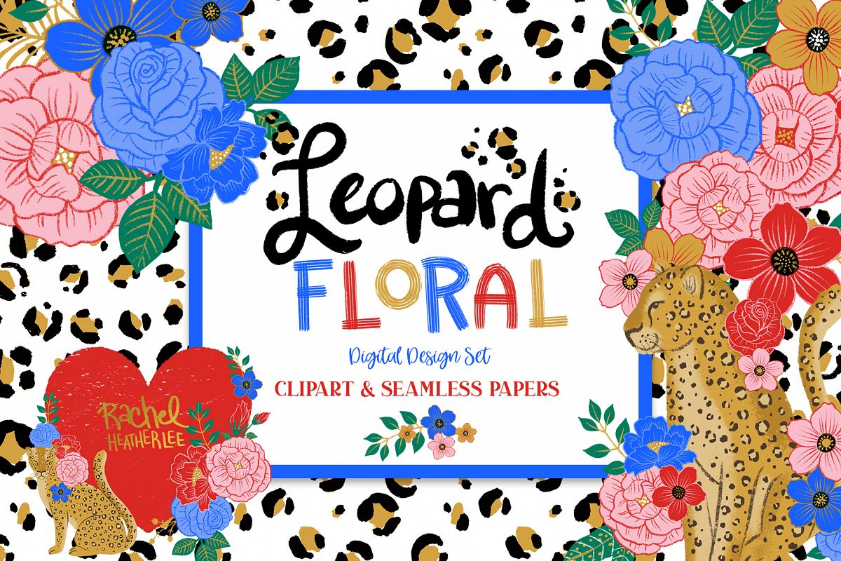 Leopard Floral Clipart & Patterns example image 1