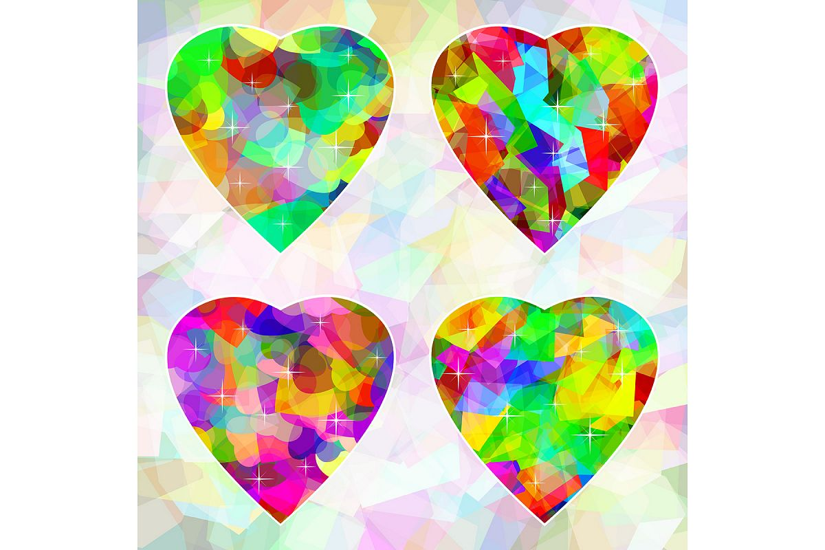 Vector Multicolored abstract hearts on background example image 1