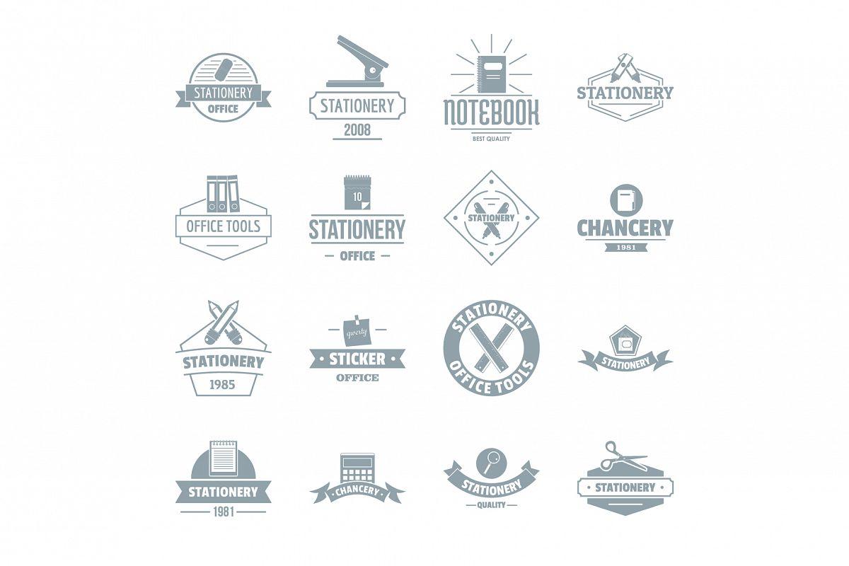 Stationery logo icons set, simple style example image 1