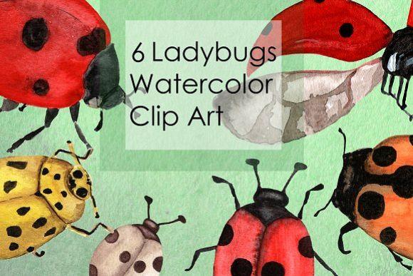 Watercolor Ladybugs Clip Art example image 1