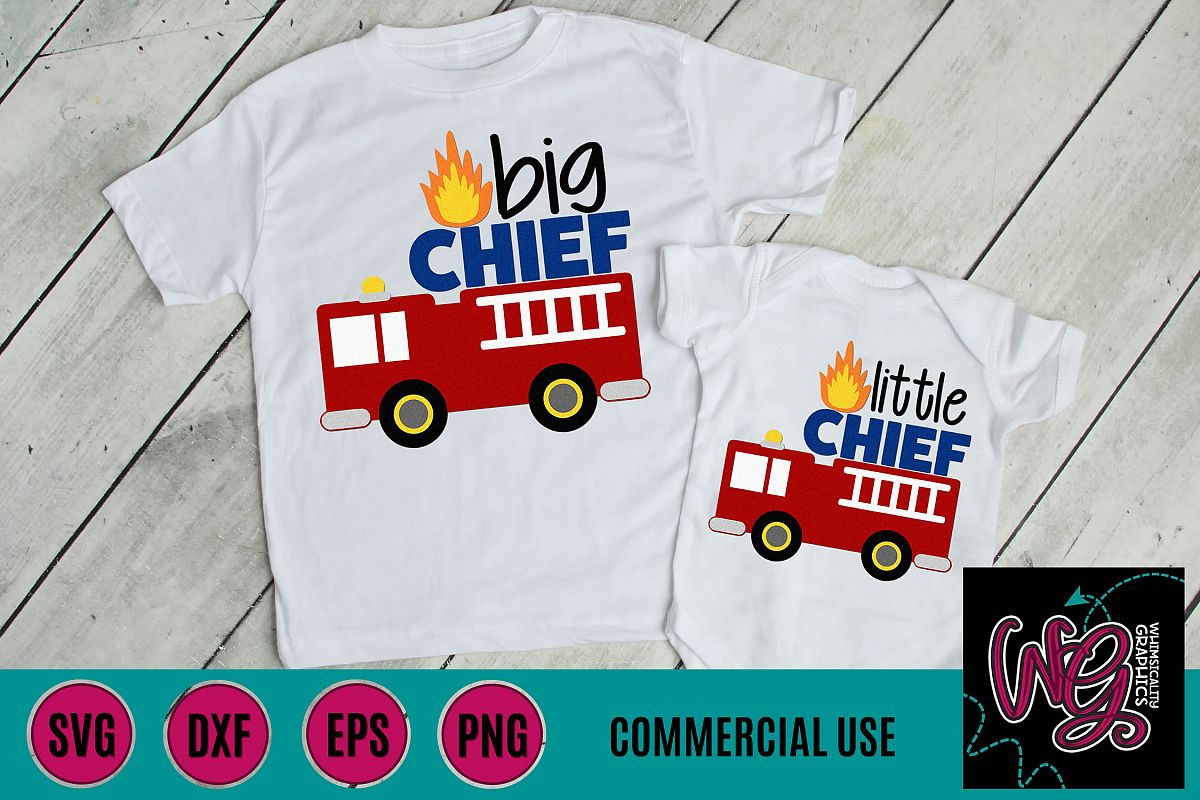 Fire Truck Big Little Chief SVG DXF PNG EPS Commercial example image 1