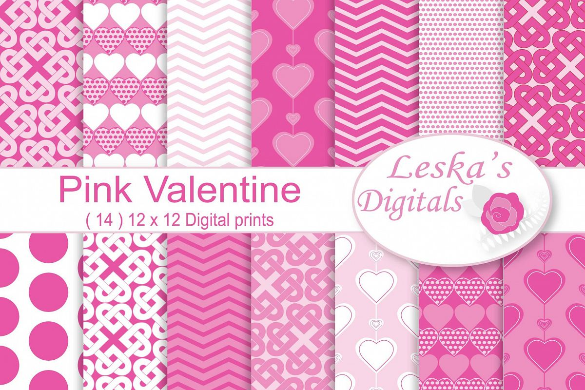 Pink Valentine Digital Paper example image 1