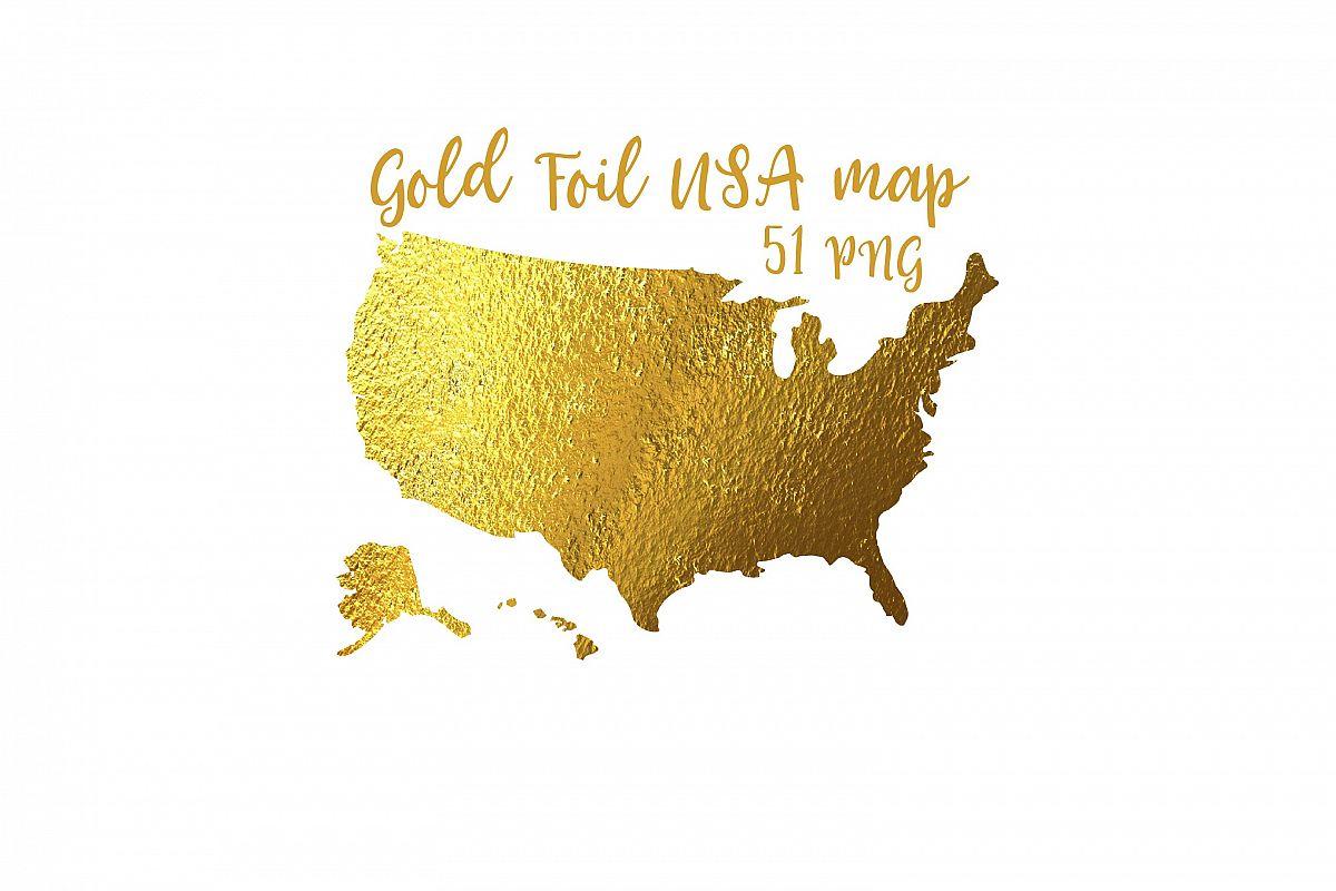 Gold Foil Usa Maps Clipart