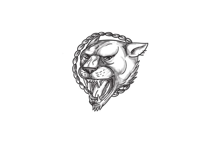 Lioness Growling Rope Circle Tattoo example image 1