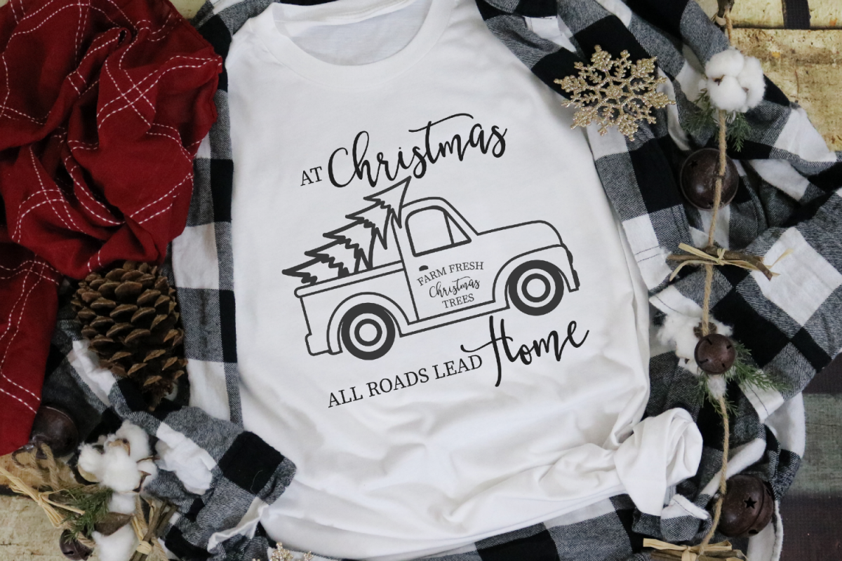 Vintage Truck - At Christmas All Roads Lead Home SVG example image 1