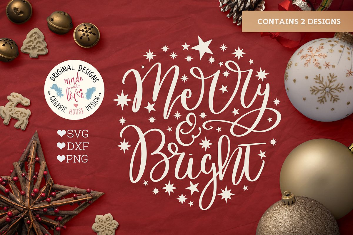 Merry Christmas & Merry n Bright - Christmas Cut File example image 1