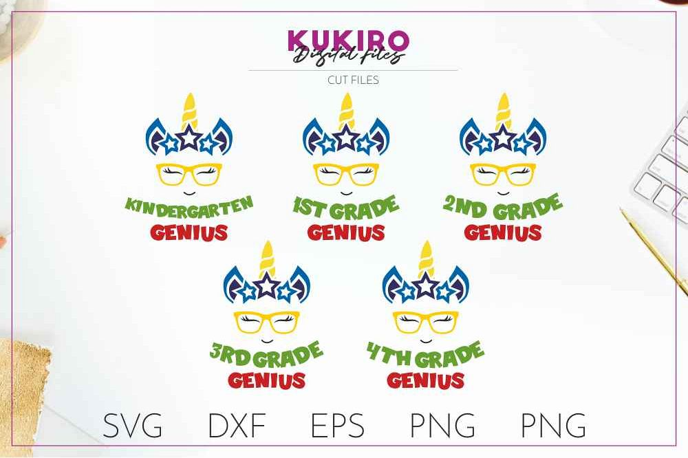 Unicorn SVG - Genius school boy cut file SVG DXF EPS PNG JPG example image 1