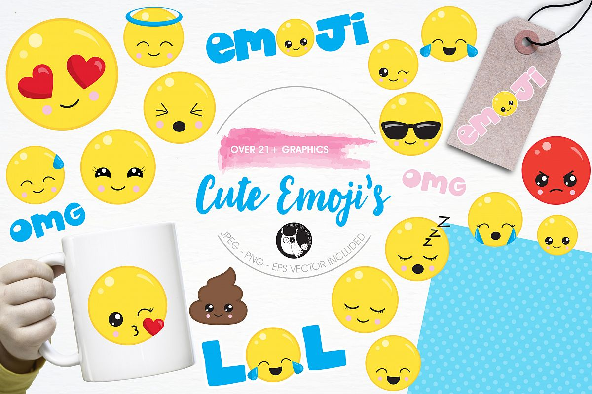Cute emoji graphics and illustrations example image