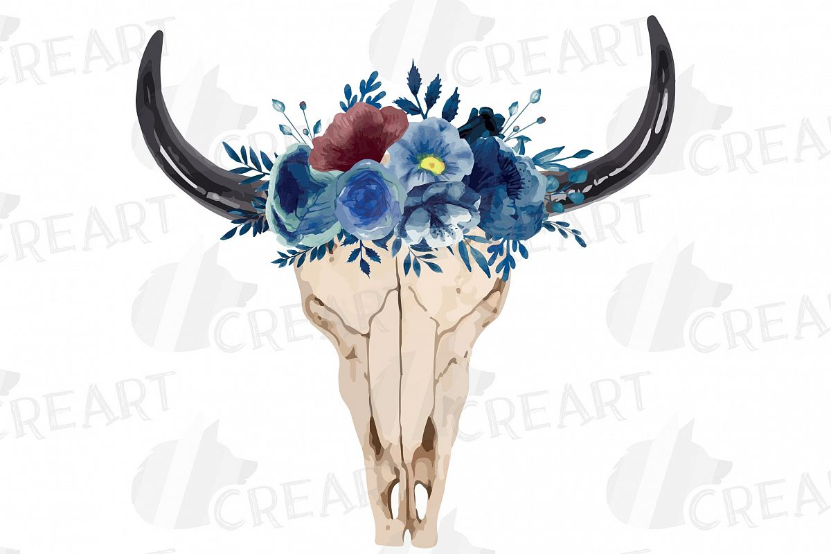 Navy blue watercolor floral bull skull clipart, tribal decor example image 1